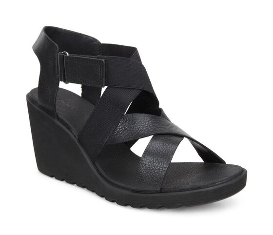 ECCO Freja Wedge Sandal Strap (BLACK)