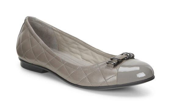 ECCO Touch Quilted Ballerina (WARM GREY/STONE)