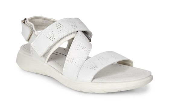 ECCO Soft 5 Cross Strap Sandal (WHITE/WHITE)