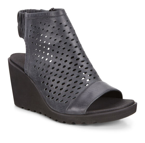 ECCO Freja Wedge Hooded Sandal (BLACK)